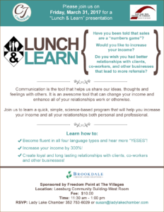 Lunch and Learn March 31 @ Freedom Pointe at The Villages | The Villages | Florida | United States